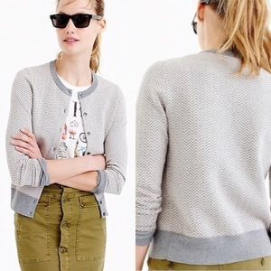 "J. Crew herringbone ""Jackie cardigan sweater"""